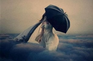 mujer paraguas