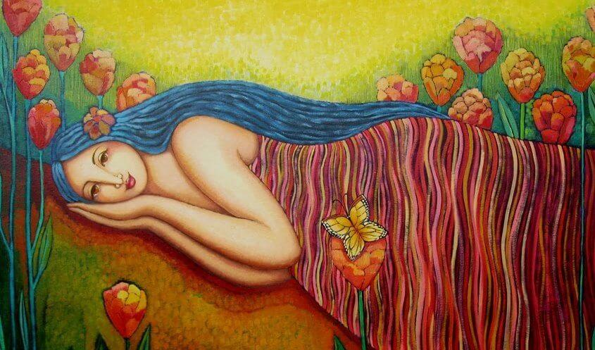 mujer tierra abundancia
