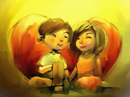 Pareja enamorada y feliz