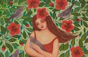 mujer con paloma representando que las cosas se aceptan