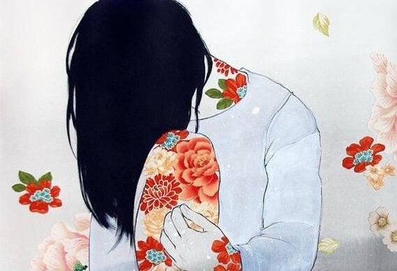 Mujer con trastorno límite escondiendo su rostro