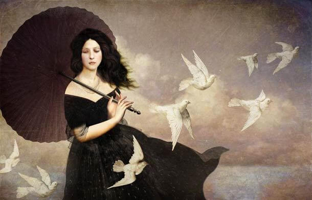 woman with umbrella and birds