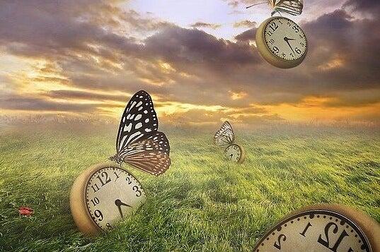 relojes en un campo simbolizando el tiempo de la depresión