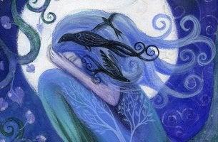 Mujer con tristeza bajo la luna