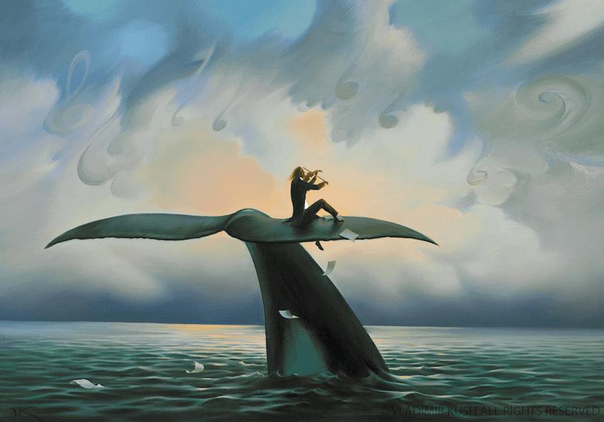 Hombre tocando el violín encima de la cola de una ballena