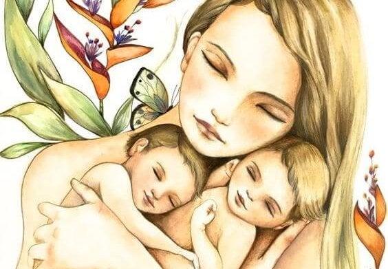Madre que abraza a sus hijas con instinto maternal