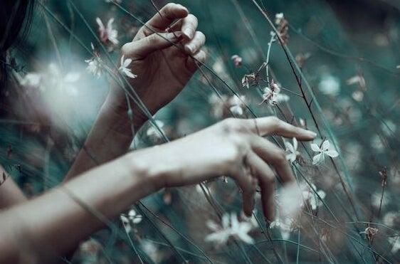 manos flores