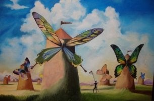 Molinos con alas de mariposa
