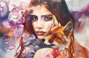 mujer con zorro