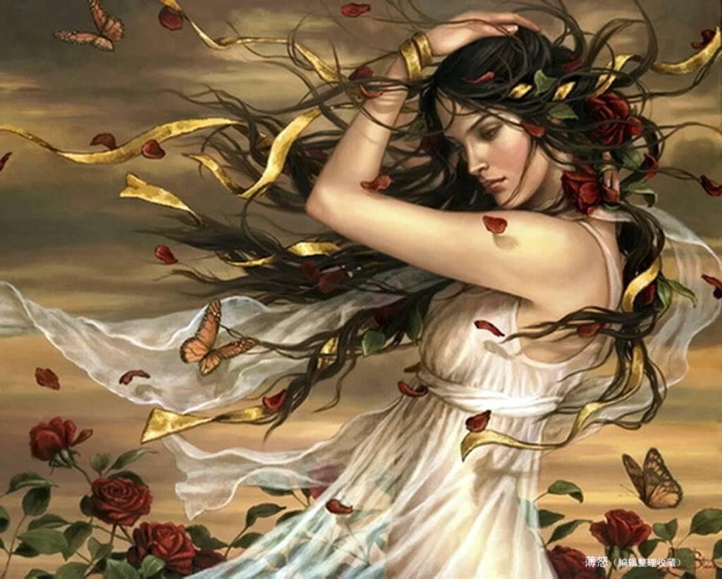 Mujer rodeada de naturaleza