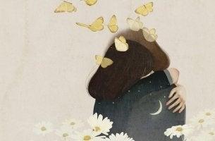 Pareja abrazándose con agradecimiento