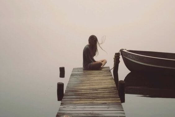 Silent woman with a boat suffers from Reactive Depression
