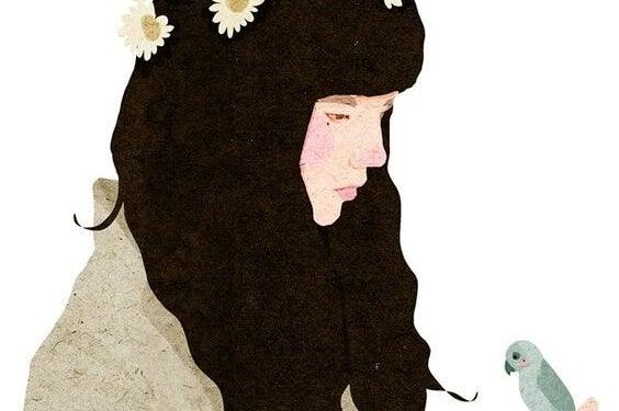 chica cabello oscuro