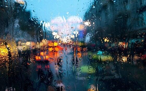 Cristal mojado por la lluvia
