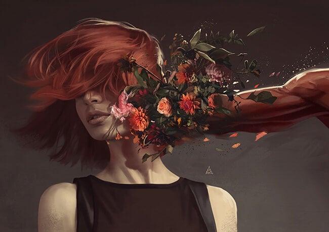 brazo golpeando con flores a una mujer que hace uso de la resistencia emocional
