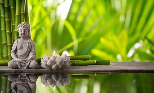 Buda y flor de loto en decoración feng shui