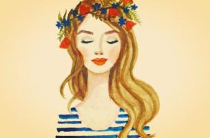 chica con flores que piensa en sus esencias