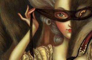Mujer con antifaz pensando en la mentira y la verdad