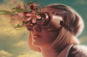 mujer con anteojos de flores
