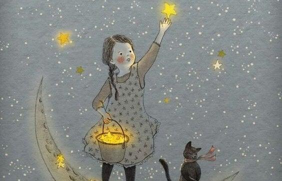 Niña cogiendo estrellas