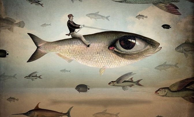 hombre sobre un pez representando el arte de saber esperar