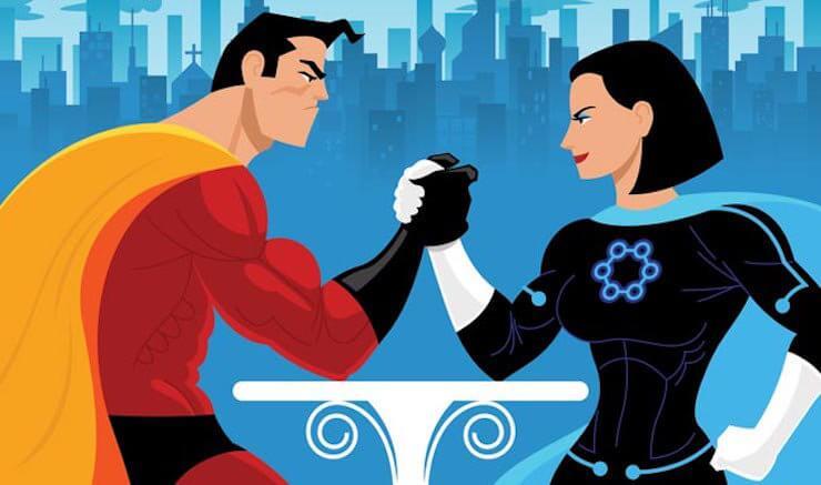 Superhéroe y superheroína haciendo un pulso