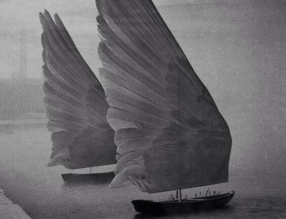 Barco con velas de alas