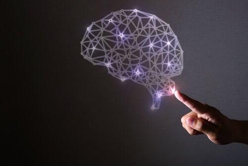 Mano señalando un cerebro con luces representando la ciencia de la neurofelicidad