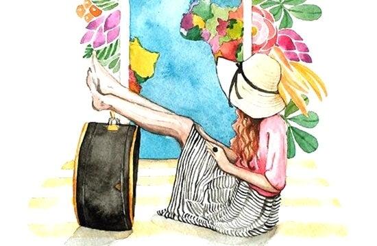 chica con las piernas sobre su maleta