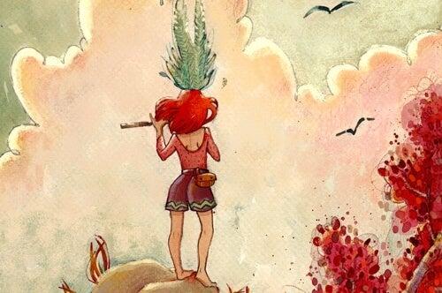 chica de espaldas sobre una colina pensando en cruzar su zona de confort