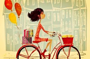 chica en bicicleta que vuelve a casa