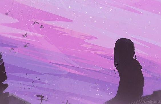 chica mirando la inmensidad de la noche pensando en cómo lo conseguiré