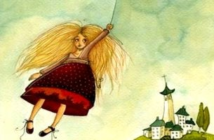 chica sujeta a una nube cruzando su zona de confort