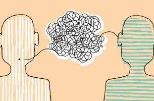 Figuras comunicándose para representar la terapia narrativa