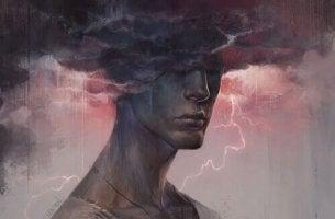 Hombre de mal humor con una nube en la cabeza