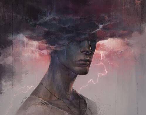 Hombre con una nube en la cabeza simbolizando a las personas rencorosas