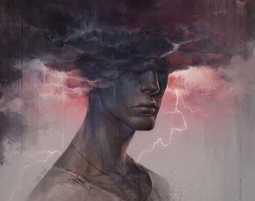 Hombre con distorsiones cognitivas