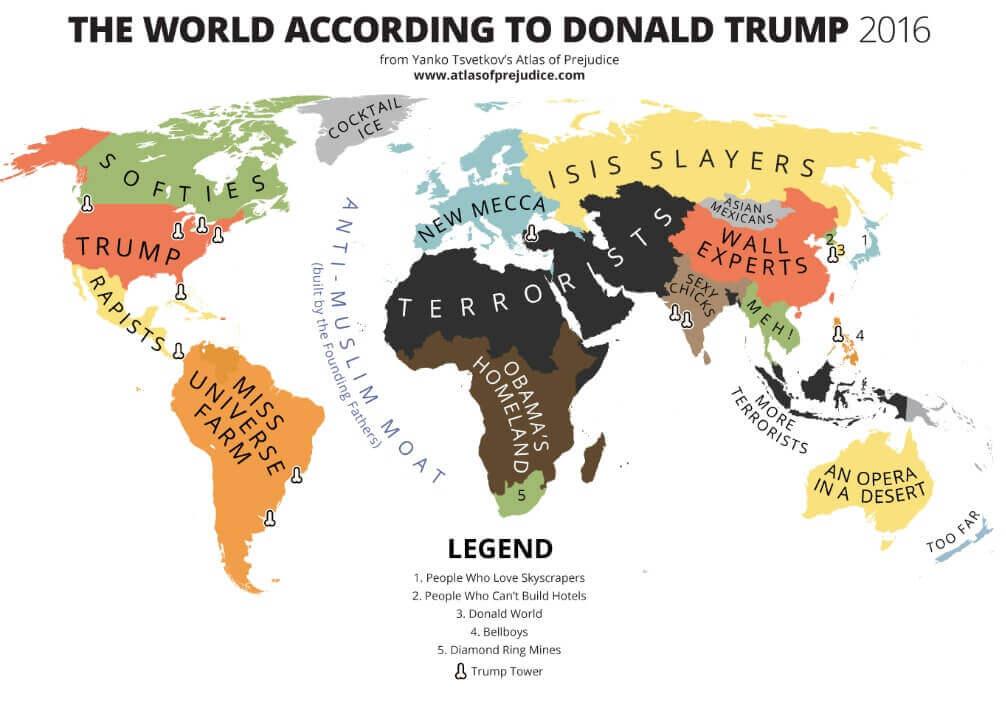 Mapa de estereotipos según Trump