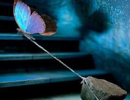 Mariposa atada simbolizando estrés
