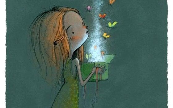 niña que abre un regalo del que salen mariposas con muchos detalles