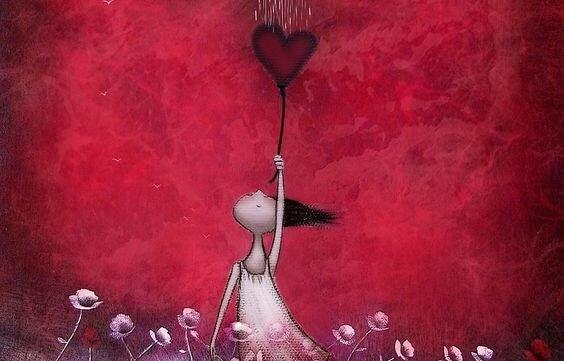 niña sujetando corazón bajo una nube llena de detalles