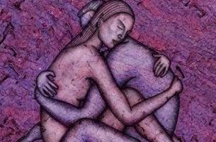 pareja unida en un abrazo de frente
