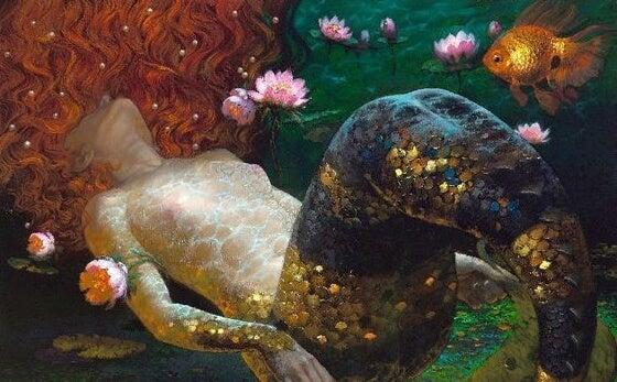 Sirena entre nenúfares