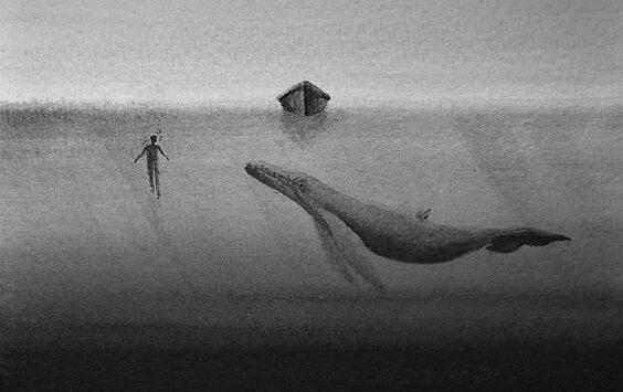 ballena debajo del agua representando la persona insensible