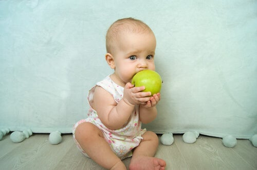 Bebé chupando una manzana