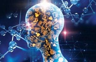 Cabeza con símbolos representando el beneficio del neurofeedback