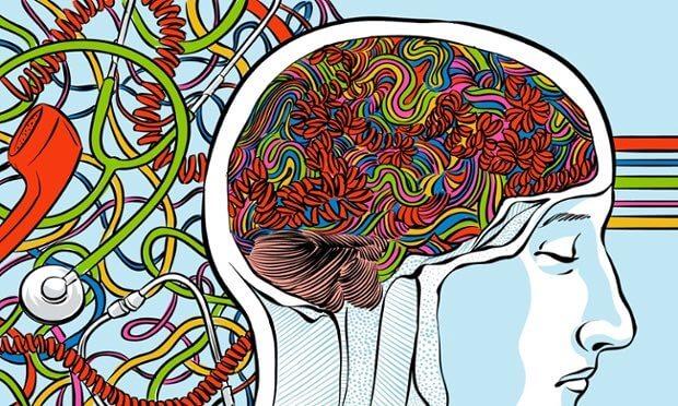cabeza humana con conexiones neuronales de colores