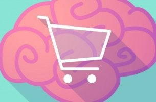 Cerebro rosado con carrito de compras en el centro