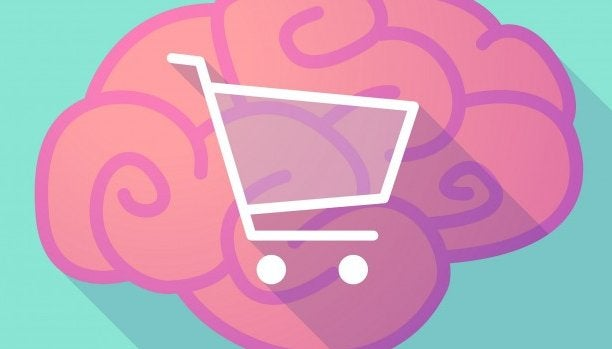 pink brain with shopping cart in the middle