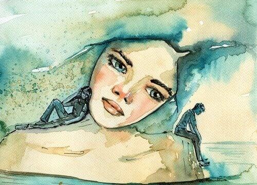 Chica con dos miniaturas simbolizando a los pensamientos